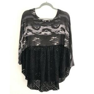 FREE PEOPLE SMALL BLOUSE, 3/4 SLEEVE TUNIC